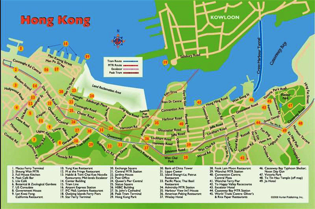Central is located on Hong Kong Island, across Victoria Harbour from Tsim Sha Tsui in Kowloon Peninsula. There are several arterial streets in the district, including Queen's Road, Des Voeux Road, Chater Road and Connaught Road.